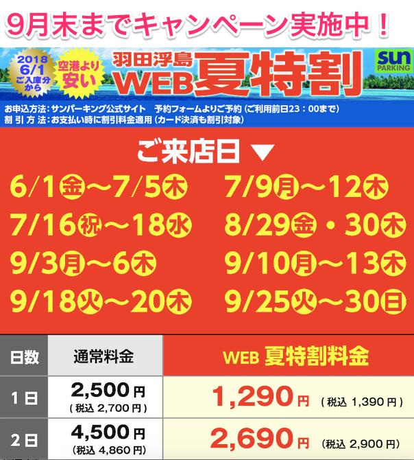 sunパーキング羽田浮島店_キャンペーン情報