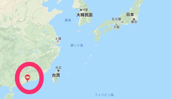 日本と香港の位置関係図